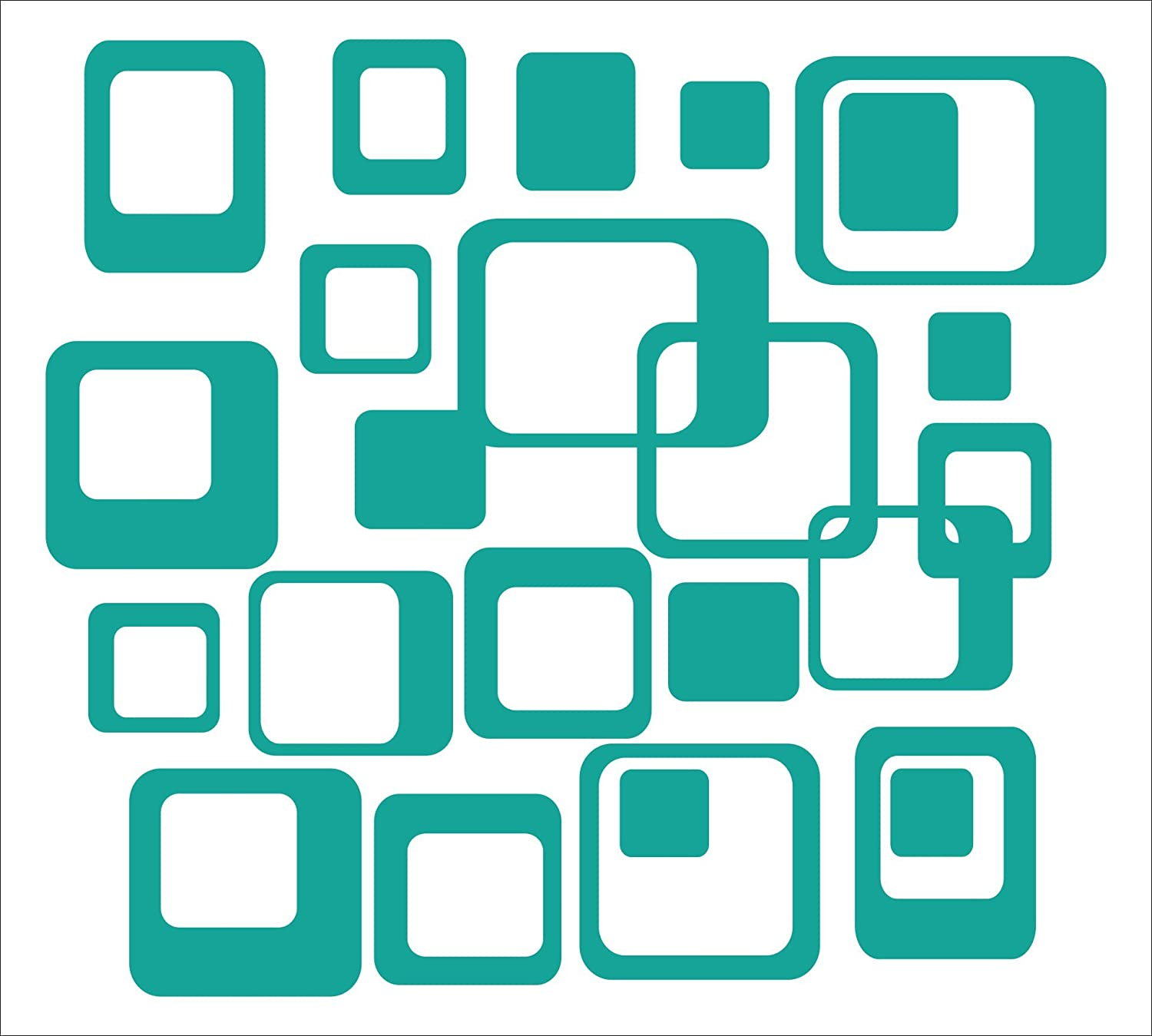 Teal Wall Decor Plus More WDPM650 6-Inch and Smaller Funky Wall R//Squares Vinyl Sticker Decals 20-Piece