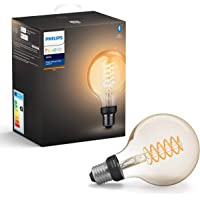 Philips Hue Filament Lamp 1-Pack, E27, Vintage Globevorm G93, Duurzame LED Verlichting, Warmwit Licht, Dimbaar, Verbind met Bluetooth of Hue Bridge, Werkt met Alexa en Google Home