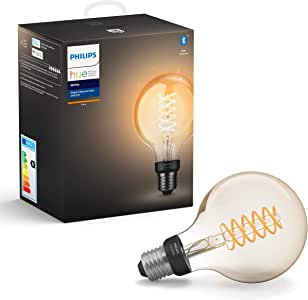 Philips Hue White Filament Single Smart LED Globe [E27 Edison Screw] with Bluetooth, Works with Alexa and Google Assistant, 7 Watts