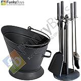 Set of 5pc Traditional Durable Black Cast Iron Fireplace Fireside Companion Set & Waterloo Coal Bucket Hod