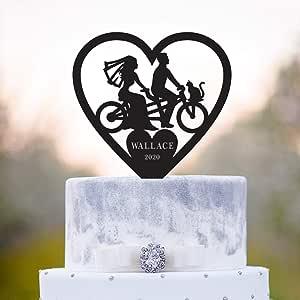 Decoración tándem para tarta de bicicleta con gato, tándem bicicleta para boda, gato, decoración para tortas, amantes de las bicicletas, para perros, para parejas de boda, para gatos, a351: Amazon.es: Hogar
