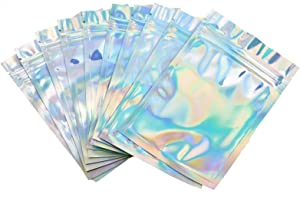 Timoo 100 Pcs Smell Proof Bags, 3.3''x5'' Clear, Food-Grade, Resealable Mylar Ziplock Bags Foil Pouch for Candies, Cookies & Etc (Holographic Rainbow Color)
