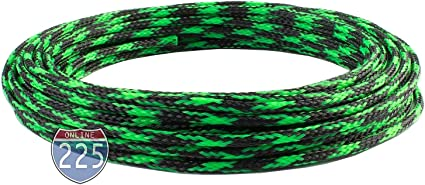 """50 FT 3//8/"""" Green Expandable Wire Cable Sleeving Sheathing Braided Loom Tubing US"""