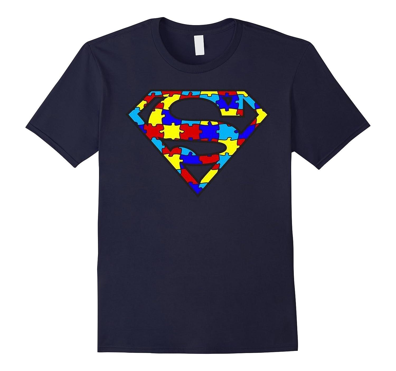 Autism Super Hero Awareness T-Shirt Ribbon Gift Tee Mom Dad-CL
