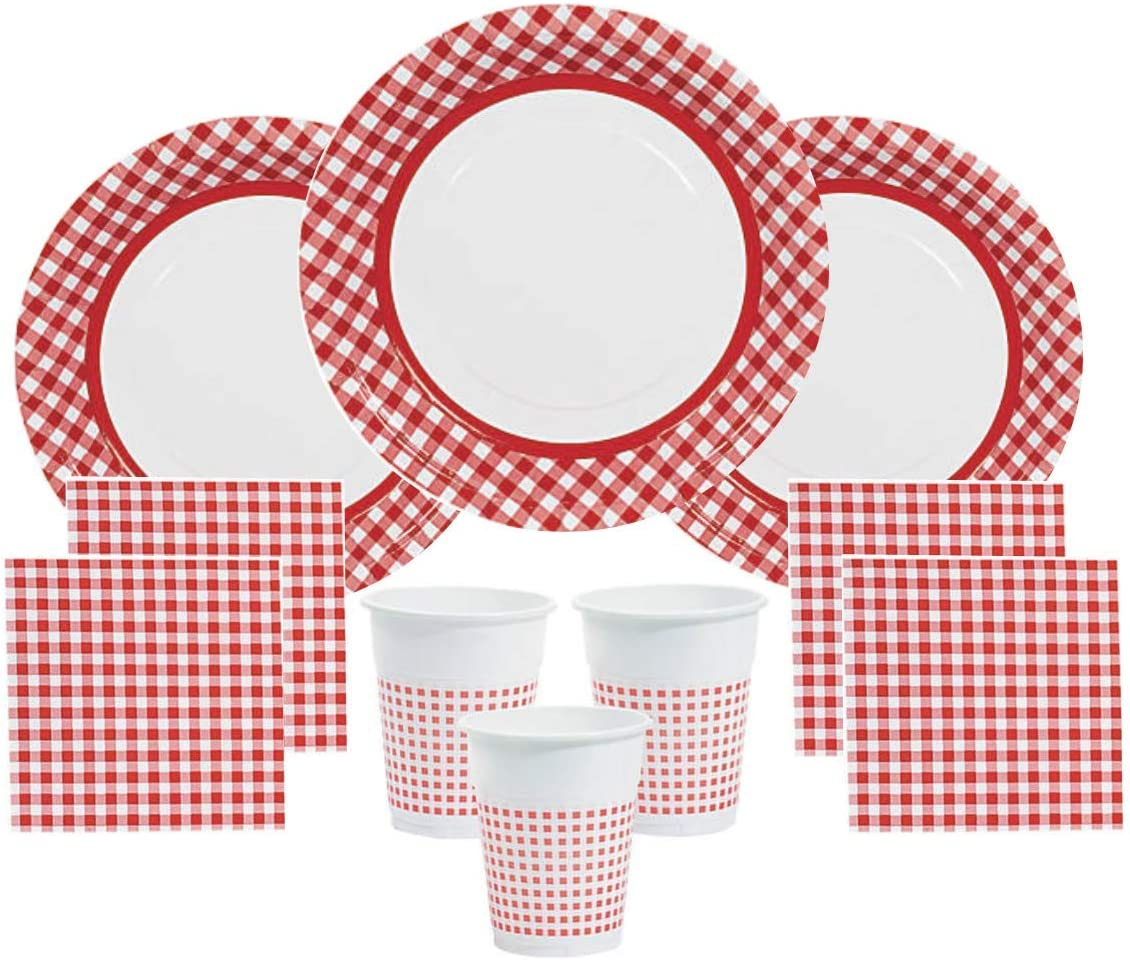 Red Gingham Party Supplies Picnics Camping for 48 Guests Including Large Plates, Napkins & Cups