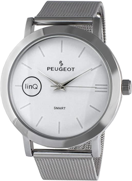Peugeot LinQ Bluetooth Hybrid Analog Smartwatch Compatible with iOS and Android Phones Minimalist Design with Steel Mesh Band.