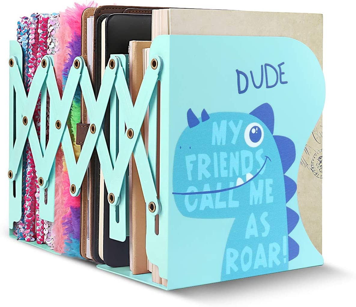 SubClap Adjustable Bookends Metal Book Racks for Kids, Expandable Cartoon Student Book Ends for Heavy Book, Book Holder Hold Books, Magazines, Cookbooks, Desktop Organizer Bookshelf for Room & Office