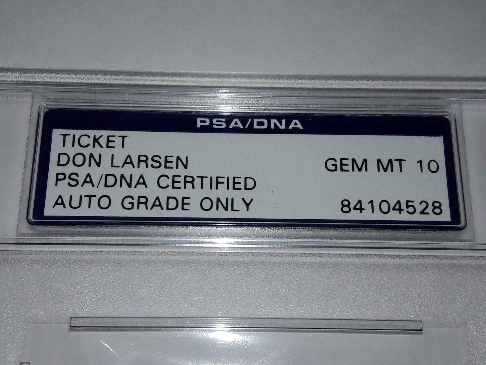 PSA/DNA Authentic PSA/DNA 10 1956 World Series Game 5 Ticket Don Larsen Autographed Signed Perfect Game