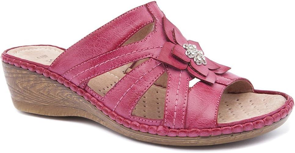 Fit Glittering Flower Pink Flat Sandals