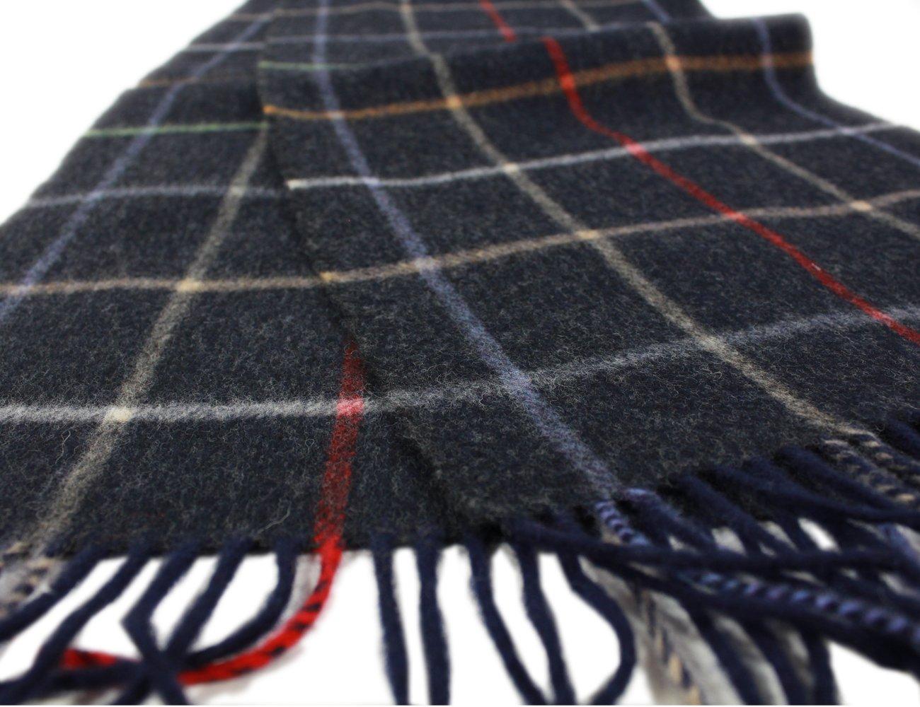 "Irish Wool Scarf Lambswool Navy Plaid 63"" x 12"" Made in Ireland by John Hanly (Image #3)"
