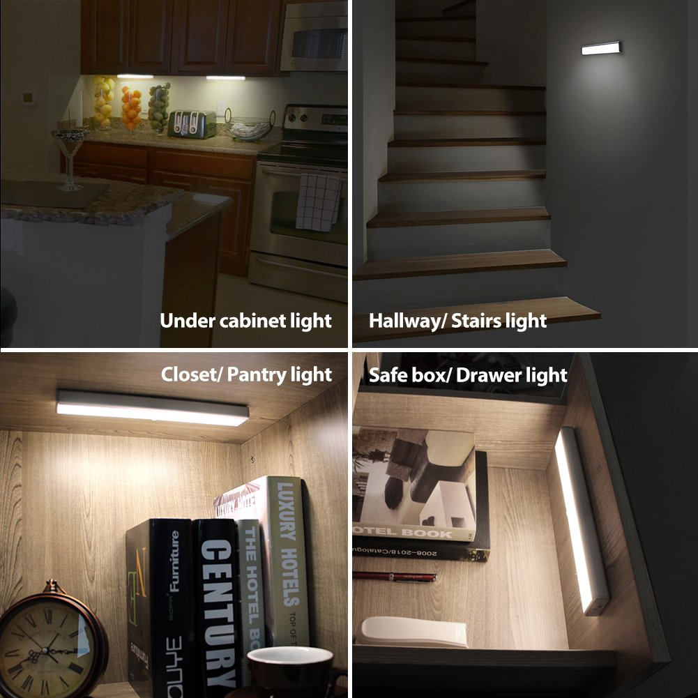 under stairs lighting. [Upgraded] Wireless 14LED Motion Sensor Light, Megulla USB Rechargeable Battery-Operated Night Light For Under Cabinets, Closets And Bathrooms (Stick Stairs Lighting