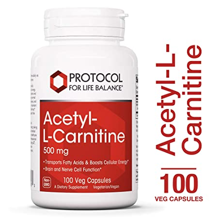 Protocol For Life Balance – Acetyl-L-Carnitine 500 mg – Helps Transport Fatty Acids to Reduce Unwanted Fat, Boosts Energy, Provides Cognitive Support, Enhances Performance Recovery – 100 Vcaps