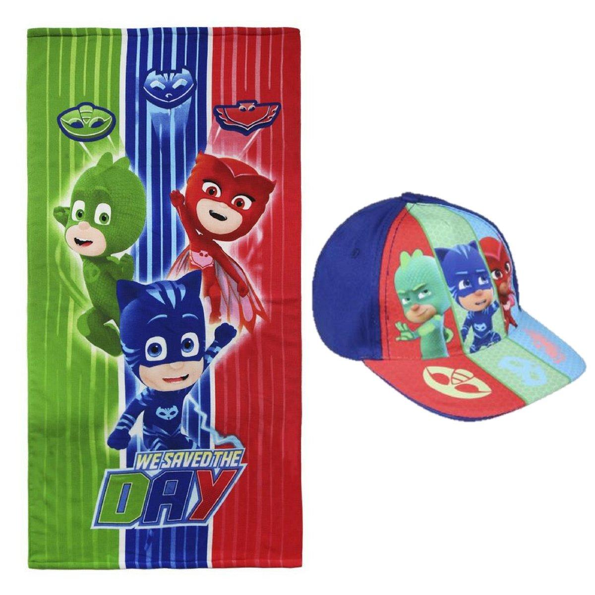 Toalla de Playa niño PJ Masks Disney + Gorra + Regalo, multicolor - microfibra suave 140x70 cm. niños - Héroes en Pijama: Amazon.es: Hogar
