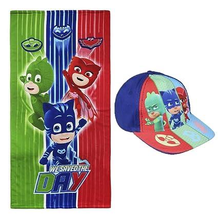 Toalla de Playa niño PJ Masks Disney + Gorra + Regalo, multicolor - microfibra suave