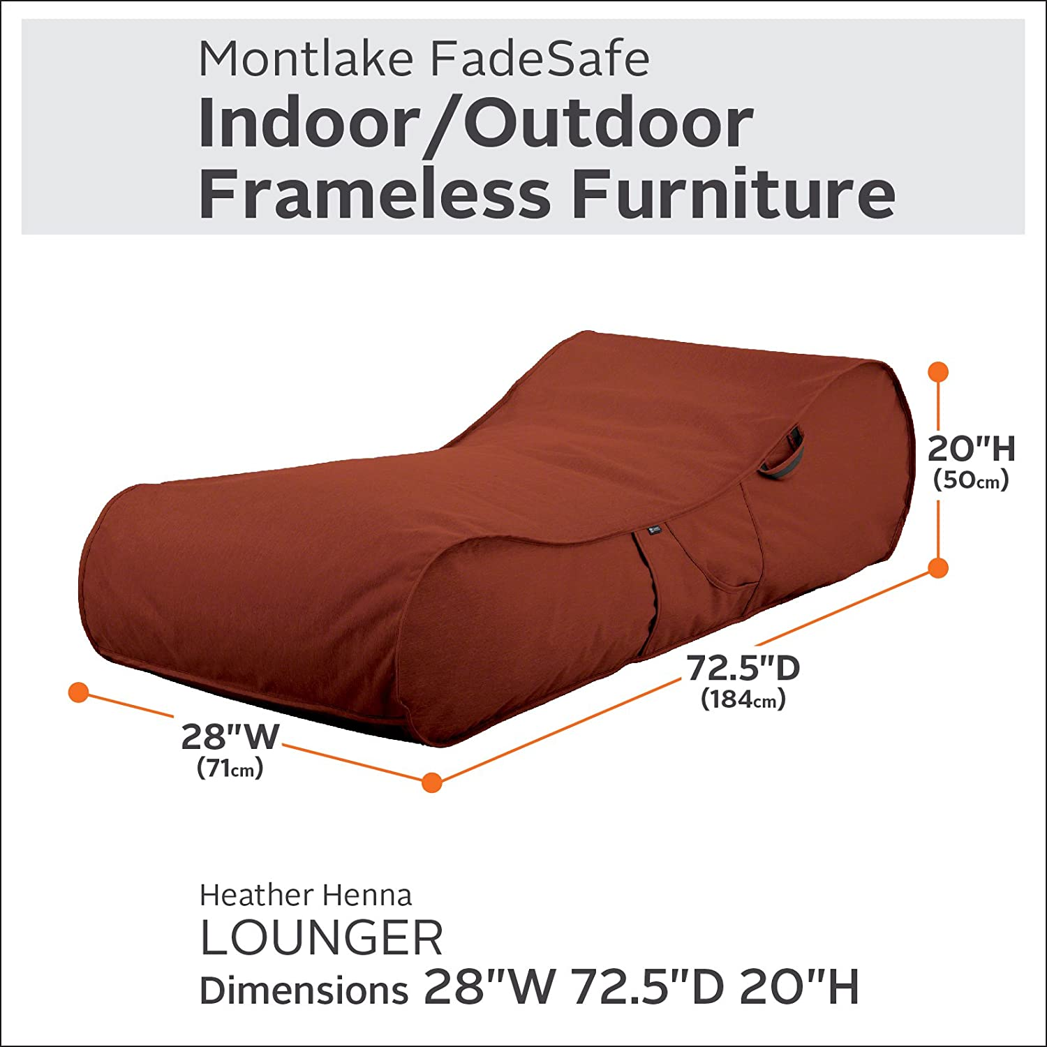 Classic Accessories Montlake FadeSafe Frameless Furniture Indoor Outdoor Bean Bag Lounger, Red
