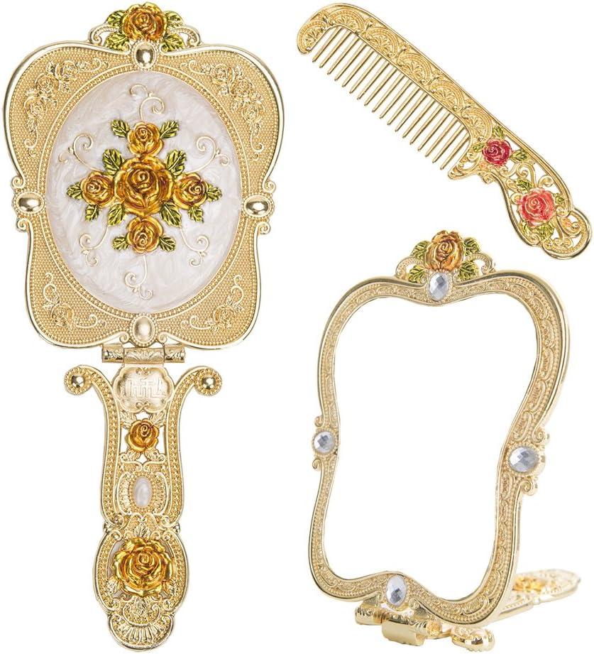 Nerien Vintage Rose Metal Mirror Comb Set Antique Hand Held Vanity Mirror Comb Set Gold