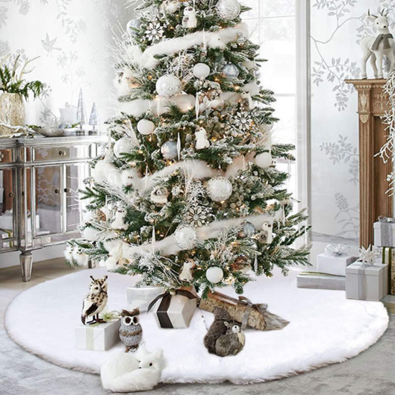 Petalum Jupe Sapin No/ël Couvre-Pied D/écoration Tapis Tablier Pur Blanc Neige Peluche Doux Maison F/êtes Vacances Nouvel an Blanche diam/ètre 78cm