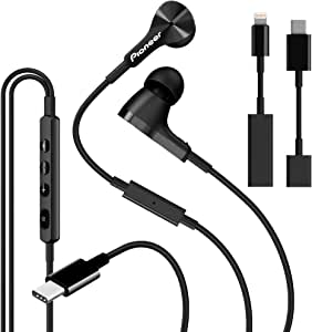 Pioneer Rayz Pro Smart USB-C & Lightning Wired Headphones Earphones, Active Noise Cancelling Earbuds Microphone Volume Control | For Apple iPhone Mac iPad, Android, Nintendo Switch, Google Pixel -Onyx