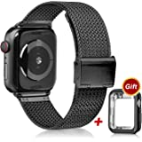 VATI Compatible with Apple Watch Band 38mm 40mm 42mm 44mm with Case, Stainless Steel Mesh Loop Replacement Band with Apple Watch Protective Case Compatible with iWatch Apple Watch Series 1/2/3/4