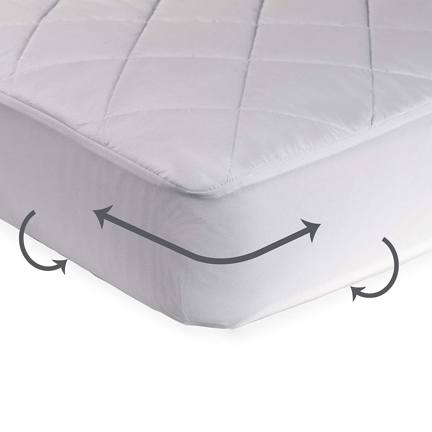 Very Helpful Crib Mattress Pad Amazon.com : Sealy Cool Comfort Fitted Infant-Toddler Crib Mattress Pad -  Moisture Wicking, 100% Waterproof Layer, Hypoallergenic, Deep Fitted Skirt,  ...