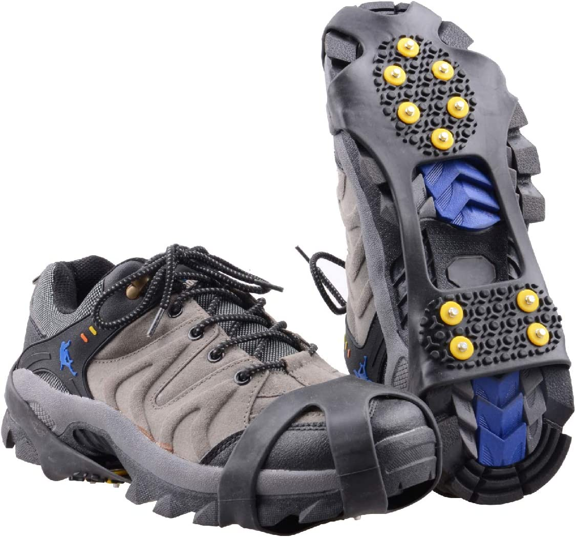 Azarxis Walk Traction Ice Cleat Spikes Crampons with 10 Spikes Snow Grips Stretch Footwear Traction for Walking, Jogging, Climbing, Hiking on Snow and Ice