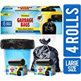 JOFF Premium Garbage Bags (Large) Size 60cm x 81cm (24inch x 32inch) 4 Rolls (60 Bags)- Heavy Duty Trash/Dustbin Bags