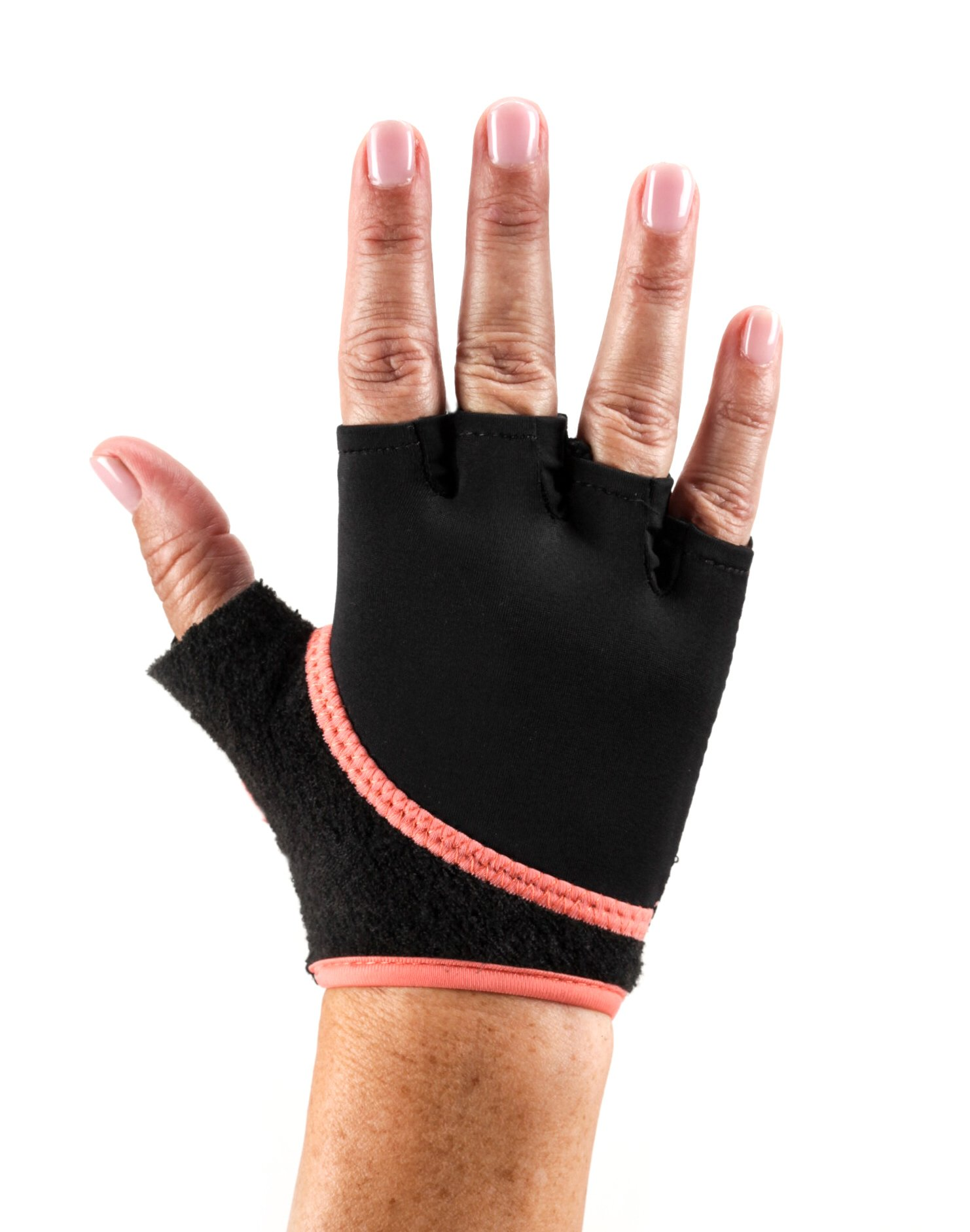 toesox Grip Gloves for Pilates, Yoga, Dance and Cross Training (Coral) Small