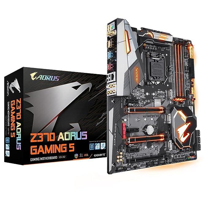 GIGABYTE Intel 1151 Socket Z370 Chipset Aorus Gaming 5 D4 ATX Motherboard -  Black