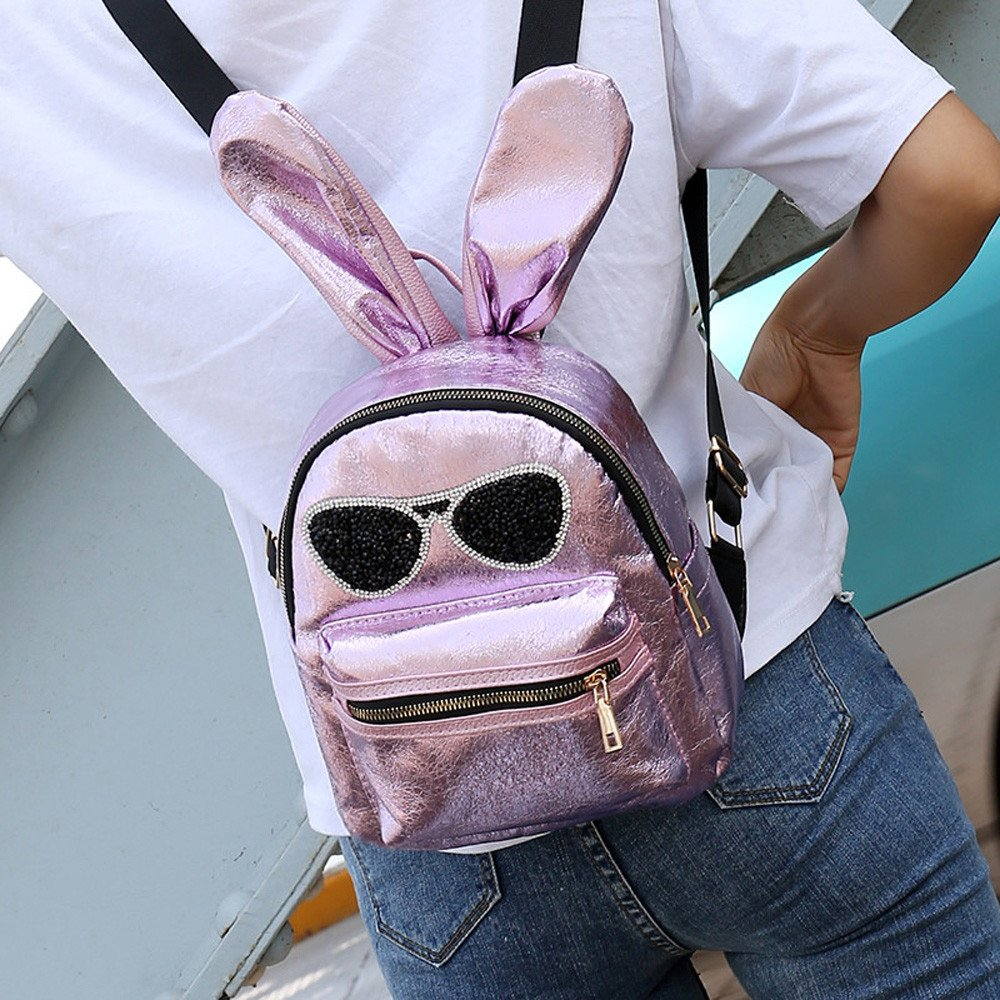 05a9f3c6dd Amazon.com  Backpack Cute for School Sequins Bunny Ears Holds 14-inch  Laptop Backpacks For Girls Cheap Back -to -School  Clothing
