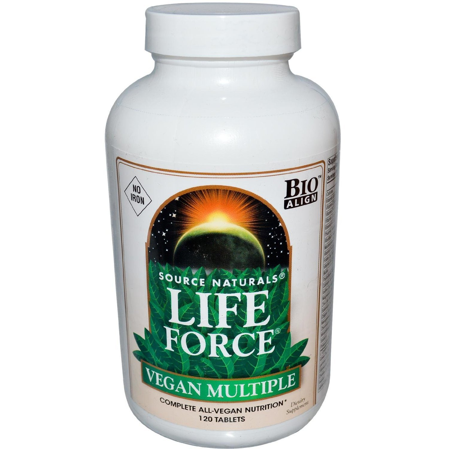 SOURCE NATURALS Life Force Vegan Multiple No Iron Tablet, 120 Count
