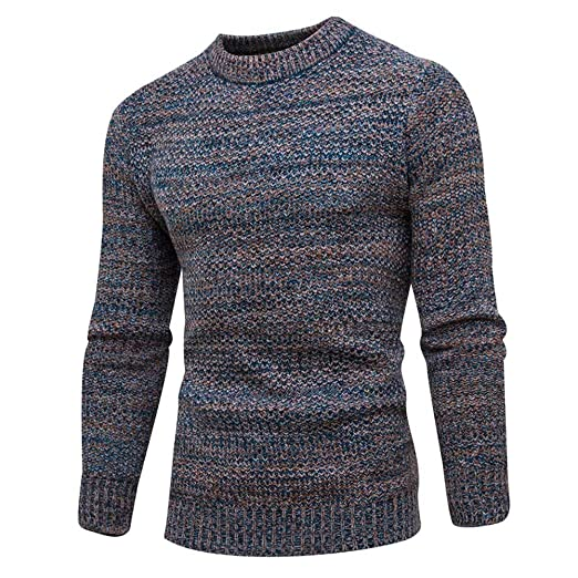 Sunhusing Mens Casual Round Neck Long Sleeve Pullover Solid Color