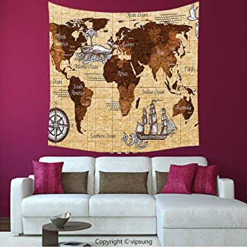 Amazon house decor square tapestry map hand drawn sketch retro house decor square tapestry map hand drawn sketch retro world map with lettering old historic gumiabroncs Images