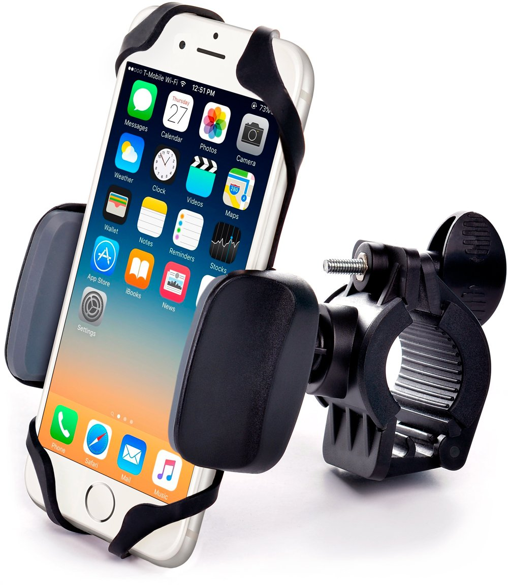 Metal Bike & Motorcycle Phone Mount - for Any Smartphone (iPhone Xr, Xs Max, Galaxy S10) | Unbreakable Handlebar Cell Phone Holder for Bike & Bicycle