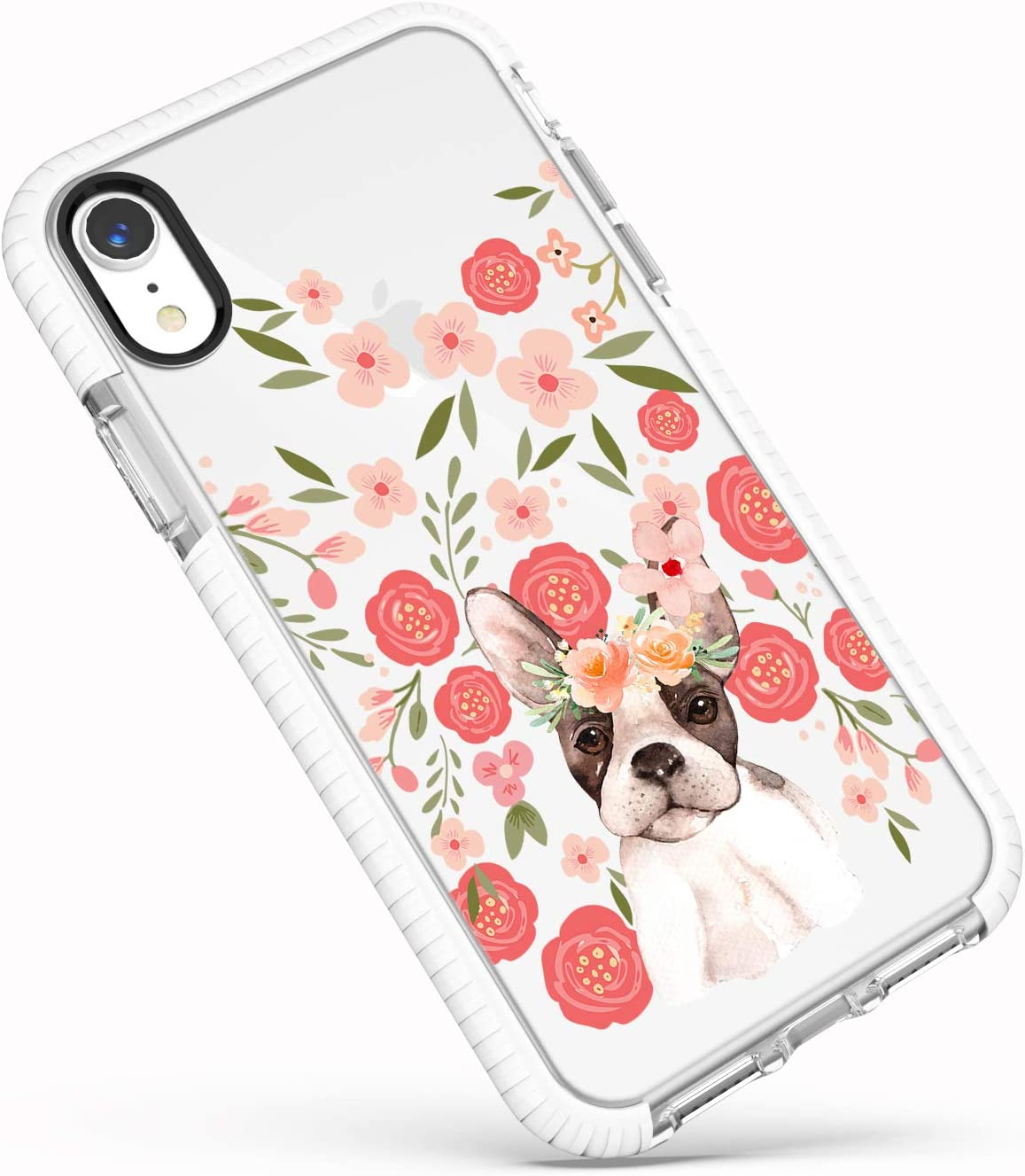 iPhone XR Clear Case,Trendy Funny Puppy Dog French Bulldog with Pink Flowers Floral Daisy Roses Blooms Girls Women Cute Lovely Soft Protective Clear Case with Design Compatible for iPhone XR