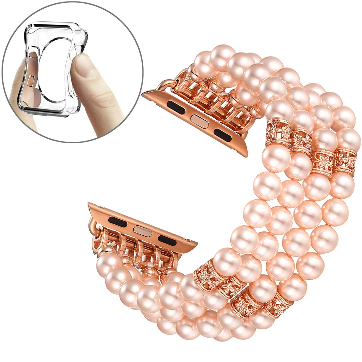 2087cb168 Amazon.com: Fastgo Compatible for Apple Watch Band 38mm 40mm, Fashion  Handmade Beaded Elastic Stretch Bracelet Replacement Band Series 4/3/2/1  (Pink ...