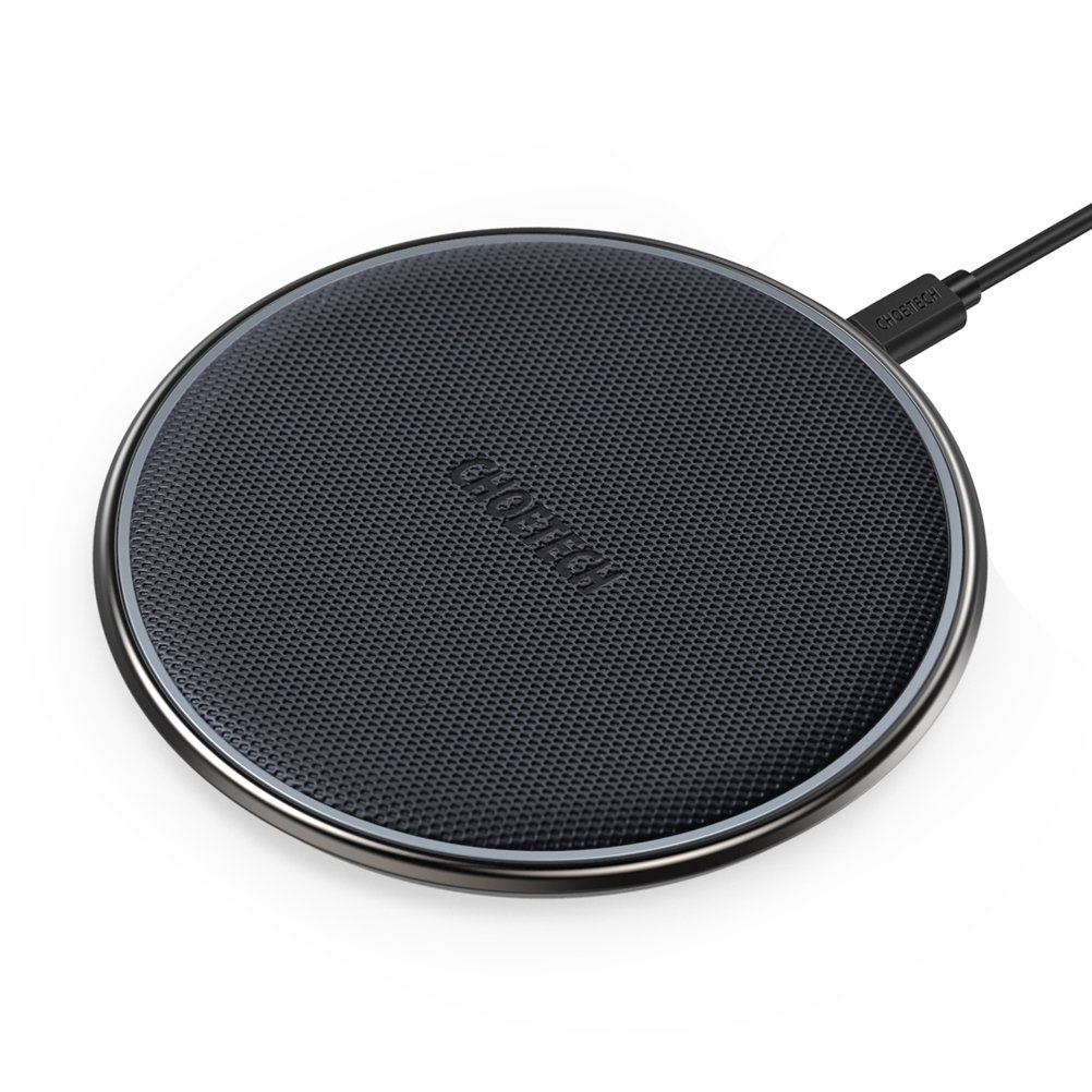CHOETECH Fast Wireless Charger iPhone 7.5W Zinc Alloy & PU Ultra-Slim Wireless Charger Compatible with iPhone X 8 8Plus, 10W Compatible with Samsung Galaxy S9/Plus, All Qi-Enabled Devices 5W