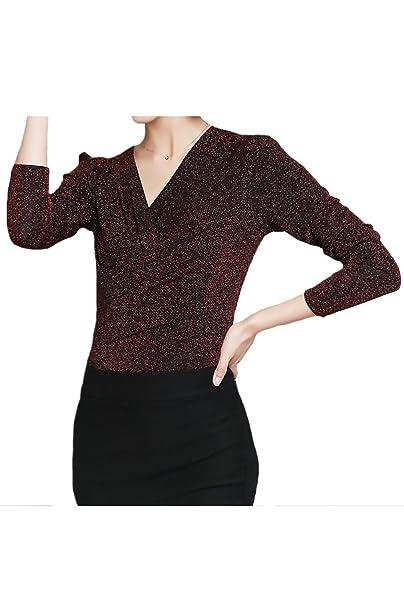 Las Mujeres Abrigo De Cuello V Camiseta Blusa Brillante Monocolor Winter Warmer: Amazon.es: Ropa y accesorios