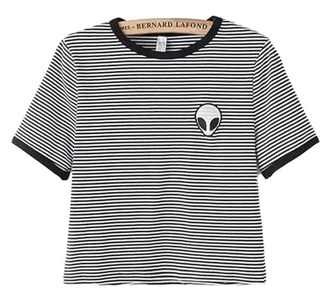 443435f17e8de1 Teen Girls Cute Crop Tops Shirt Sexy Short Sleeve T-Shirt Alien ...