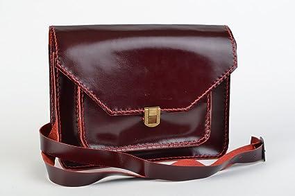 Bolso cartera al hombro de cuero natural hecho a mano
