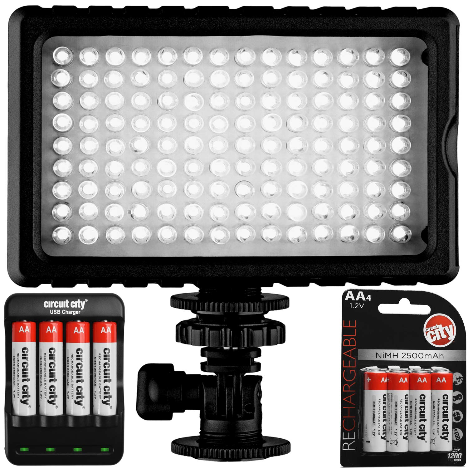 Opteka LT.Box 126 Super Bright Expandable LED Camera Video Light with 2500mAh Rechargeable AA Batteries + USB Charger
