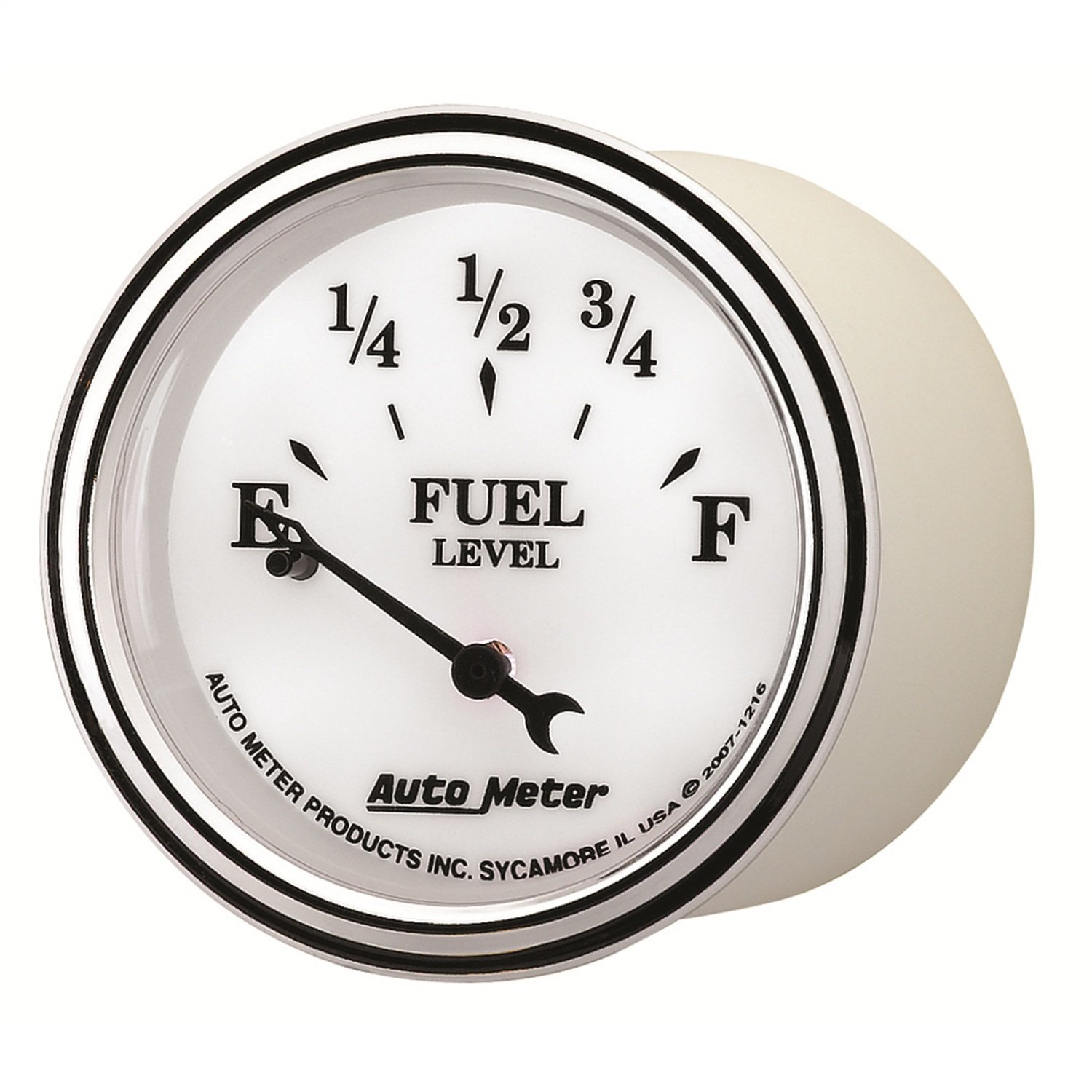 Auto Meter 1216 Old Tyme White II 2-1/16' Short Sweep Electric Fuel Level Gauge
