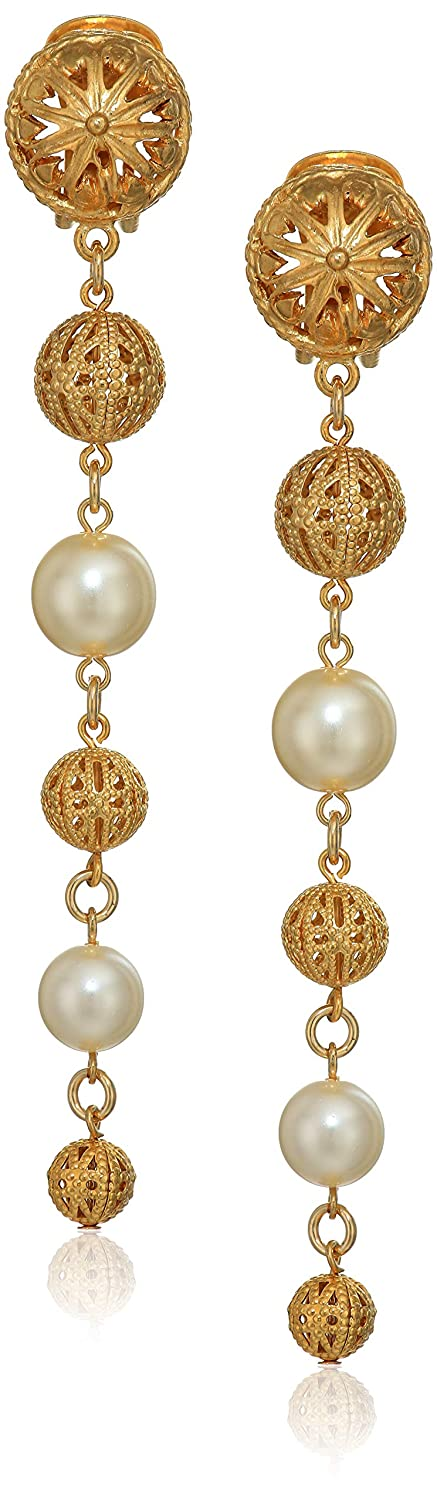 Ben-Amun Jewelry Gold Ball and Pearl Linear Drop Clip On Earrings 22116