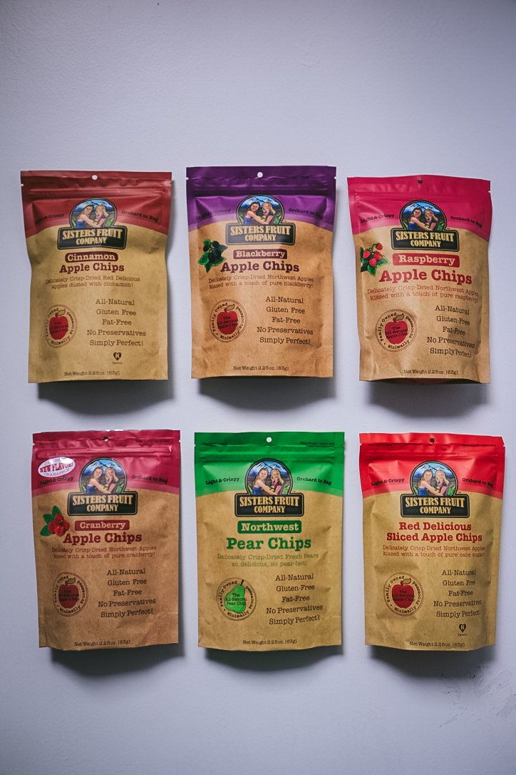 Sisters Fruit Company, Apple and Pear Chips, Variety Pack (Case of 6)