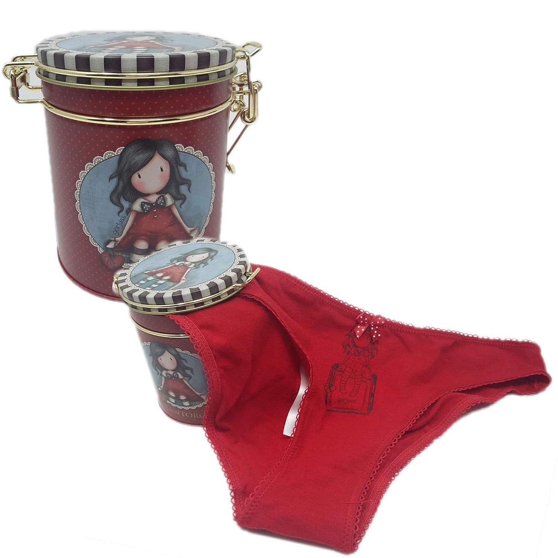 Taglia M Santoro Gorjuss Mutandine Slip Ragazza//Donna Varie Taglie Colore Rosso con Box Metallo