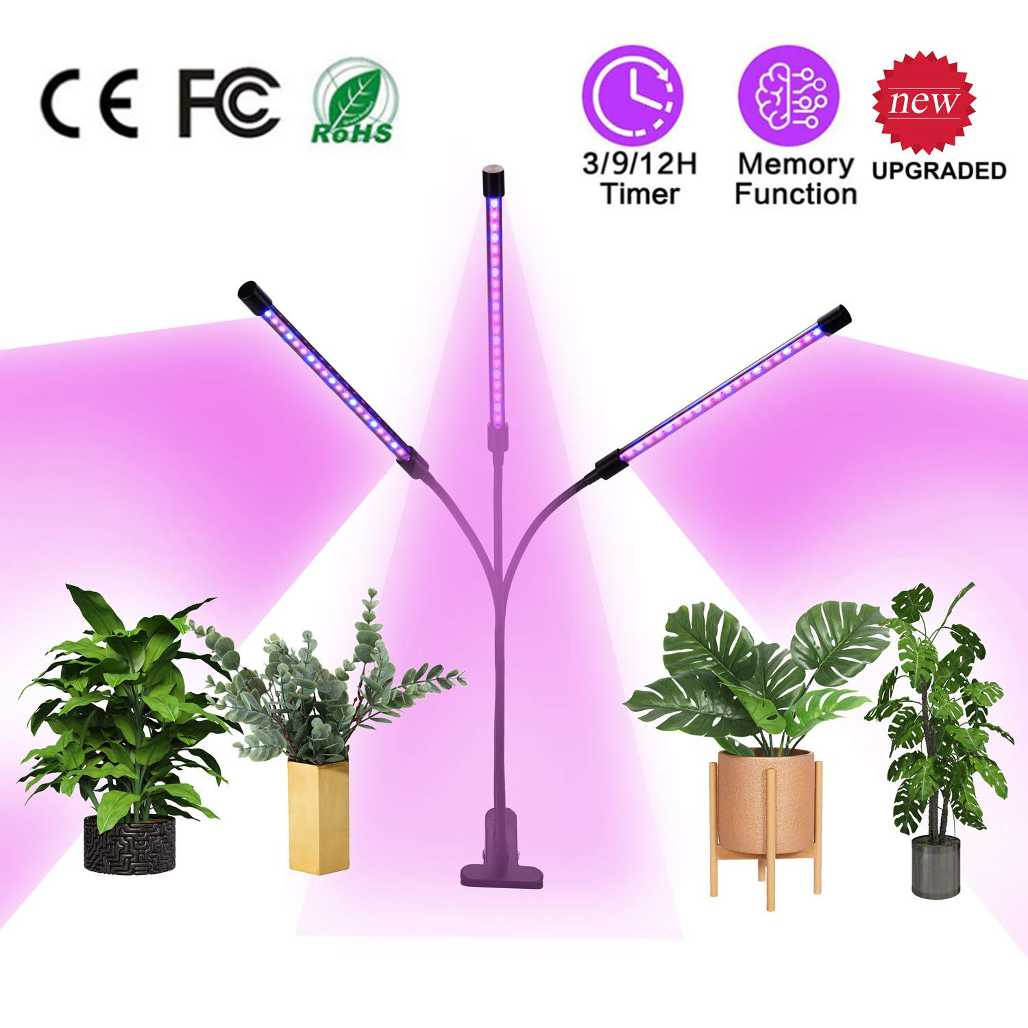 Plant Grow Light 30W with Auto Turn On Function, 60 LED Plant Grow Lamp with 3 6 12H Timer, 3-Head Divide Control Adjustable Gooseneck, 5 Dimmable Levels for Indoor Plants Full Spectrum