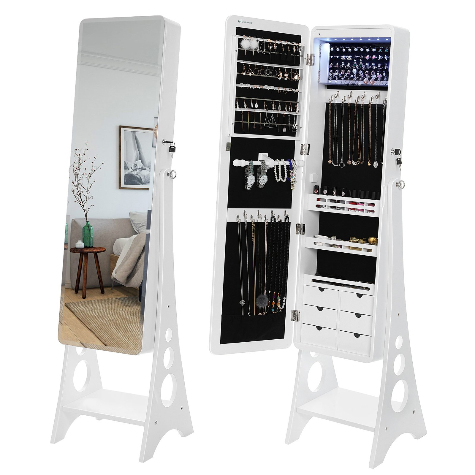 SONGMICS 8 LEDs Jewelry Cabinet with Bevel Edge Mirror Lockable Standing Armoire Organizer with 6 Drawers and Earring Board White UJJC89W