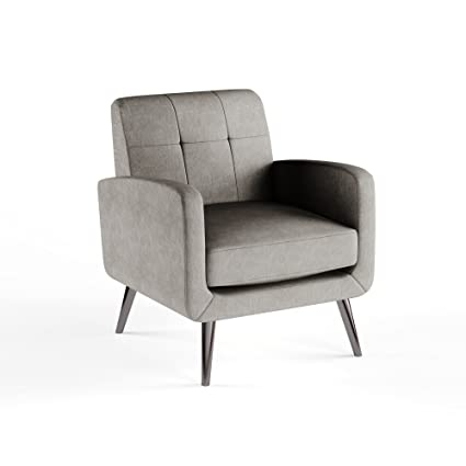 Miraculous Amazon Com Mid Century Tufted Back Gray Linen Upholstery Ibusinesslaw Wood Chair Design Ideas Ibusinesslaworg