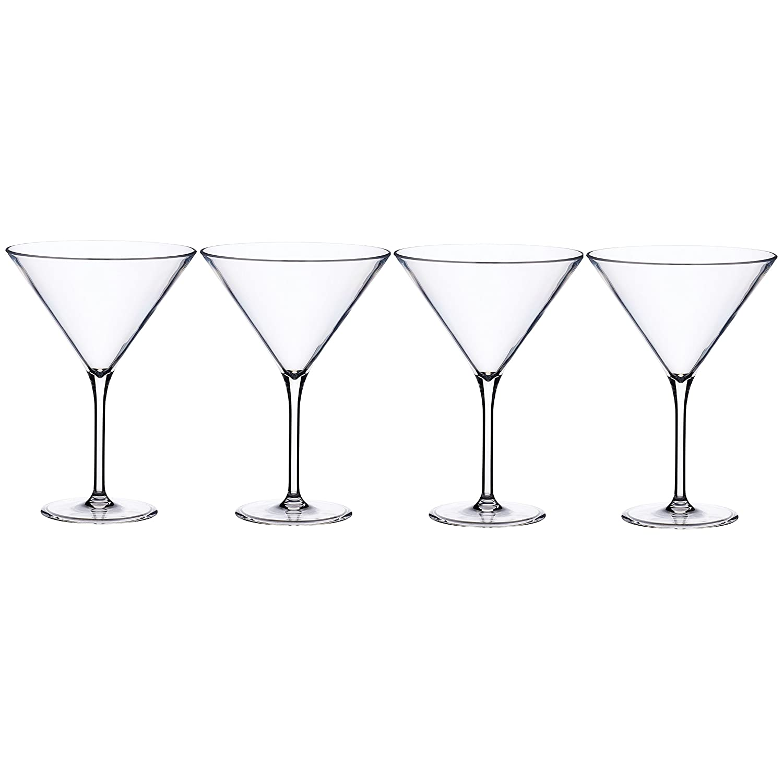 BarCraft Plastic Martini Cocktail Glasses, 250 ml (9 fl oz) (Set of 4) kitchenCraft AMZBCPLMARTSET