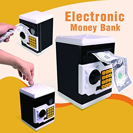 arunners electronic password piggy bank for kids girls boys plastic black atm fund digital coin cash - Electronic Christmas Gifts