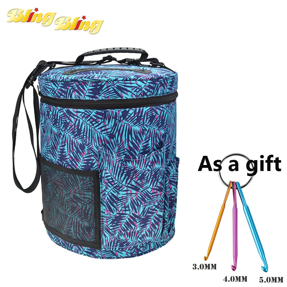 Yarn Drum Round Periwinkle Knitting Box and Crochet Tote Bag